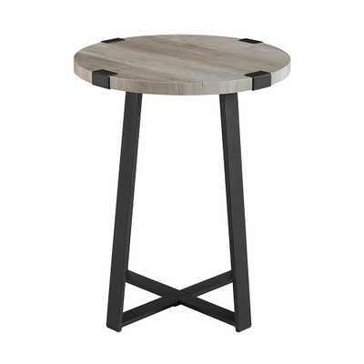 18 in. Grey Wash Rustic Urban Industrial Wood and Metal Wrap Round Accent Side Table - Home Depot