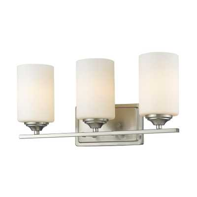 Filament Design Barr 3-Light Brushed Nickel Bath Light with Matte Opal Glass - Home Depot