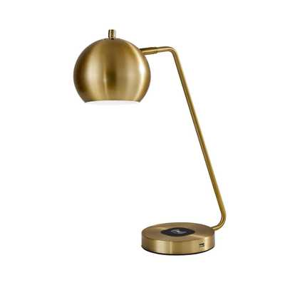 Emerson Adessocharge 20.5 in. LED Brass Desk Lamp - Home Depot