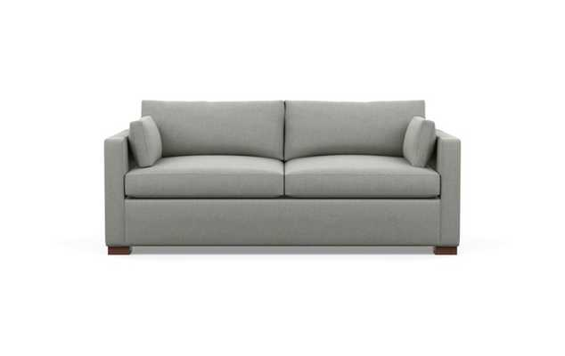 Charly Sofa with Grey Ecru Fabric, double down cushions, and Oiled Walnut legs - Interior Define