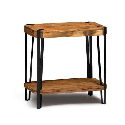 Ryegate Live Edge Brown and Black Natural Wood with Metal End Table, Brown/Black - Home Depot