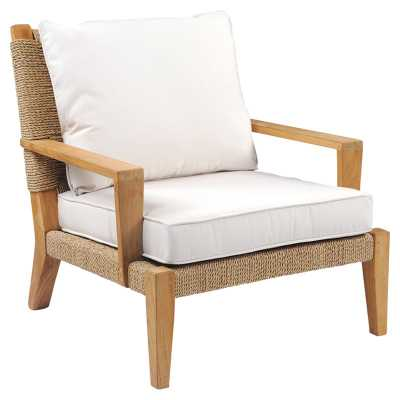 Kingsley Bate Hadley Coastal Beach White Woven Teak Outdoor Lounge Chair - Kathy Kuo Home