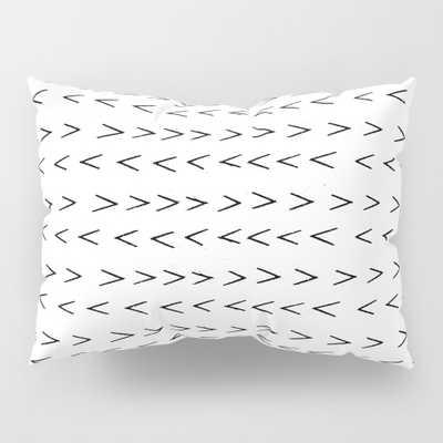 Linocut Mudcloth Grey And White Minimal Modern Che… Pillow Sham by Monoo - Society6