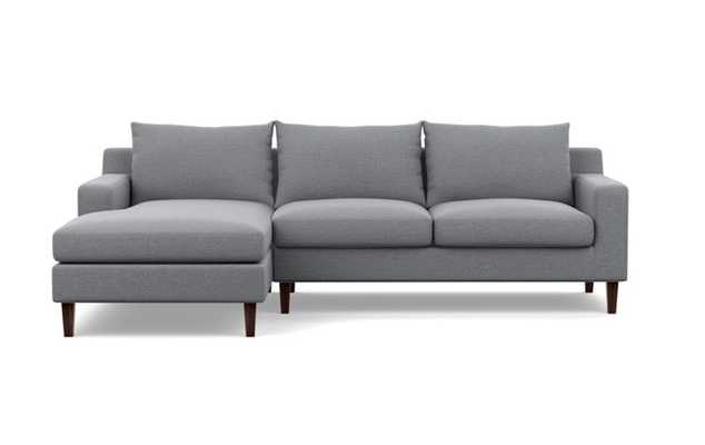 Sloan Chaise Sectional with Dove Fabric and Oiled Walnut legs - Interior Define