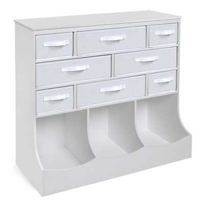 Storage Station 36.5 in. x 37 in. White 11-Cube Organizer with 8-Baskets - Home Depot