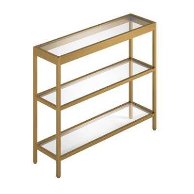 Hudson&Canal Quinn 3-Shelf Short Accent Table in Brass Bronze - Home Depot
