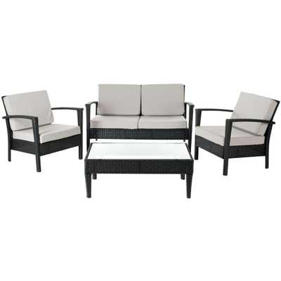 Safavieh Piscataway Black 4-Piece Wicker Patio Seating Set with Gray Cushions - Home Depot