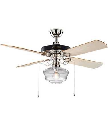 Heron Ceiling Fan with Clear Ogee Shade - Rejuvenation