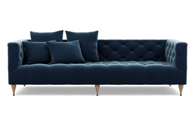 Ms. Chesterfield Sofa with Blue Sapphire Fabric and Natural Oak with Antique Cap legs - Interior Define