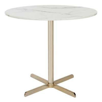 Winnie White Marble and Brass Side Table, White Marble/Brass - Home Depot