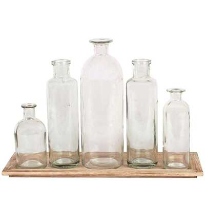 Glass Bottle Vases with Tray (Set of 5) - Home Depot