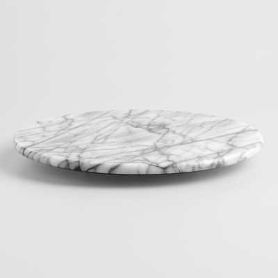 White Marble Lazy  Susan: Gray/White by World Market - World Market/Cost Plus