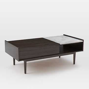 Mid-Century Pop Up Coffee Table, Dark Mineral/Marble - West Elm