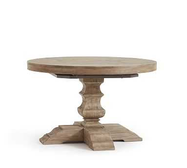 "Banks Extending Pedestal Table, 48"" - 72"" L, Grey Wash - Pottery Barn"