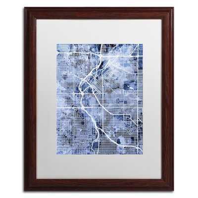 """Denver CO Street Map 2"""" by Michael Tompsett Framed Graphic Art - Wayfair"""