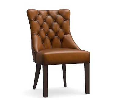 Hayes Tufted Dining Side Chair, Leather Burnished Bourbon - Pottery Barn