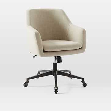 Helvetica Desk Chair, Natural, Linen Weave (Antique Bronze Base) - West Elm