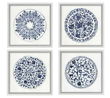 Porcelain Blue Print, Set of 4 - Pottery Barn