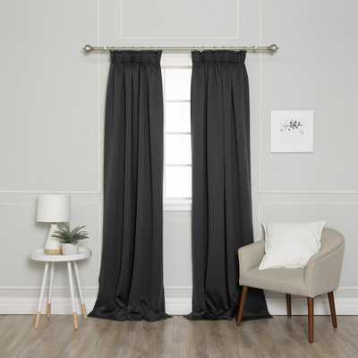 Best Home Fashion 84 in. L Pencil Pleat Blackout Curtains in Dark Grey (2-Pack) - Home Depot