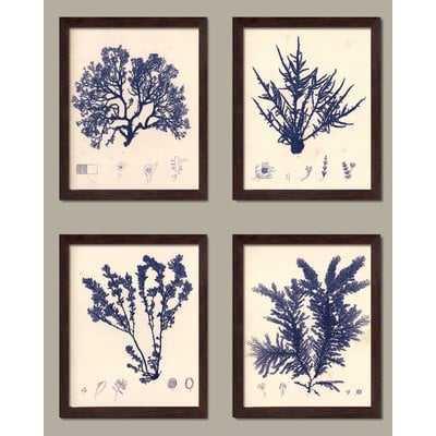 'Blue Botanical Study I Lovely Vintage Flowers' Graphic Art Print Set on Paper - Birch Lane