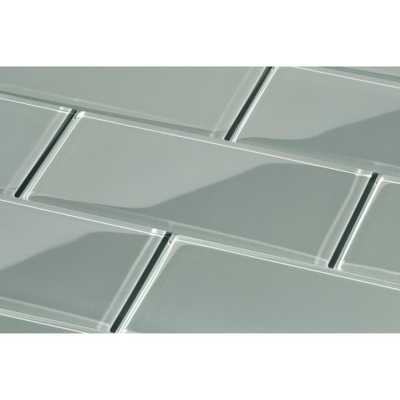 Giorbello True Gray Subway 3 in. x 6 in. x 8mm Glass Backsplash and Wall Tile (5.5 sq. ft. / case) - Home Depot