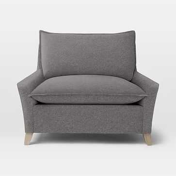 Bliss Down-Filled Chair-and-a-Half, Marled Microfiber, Heather Gray - West Elm