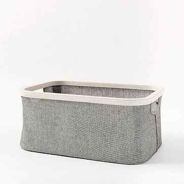 Bamboo Storage Basket, Gray Washed, Small - West Elm