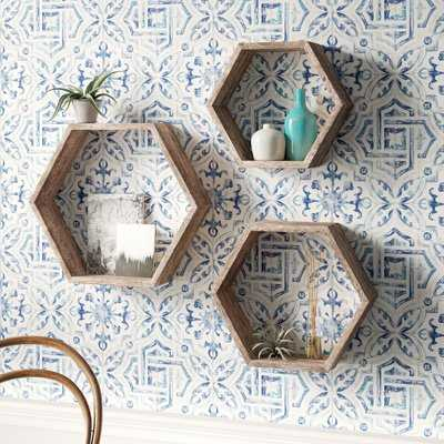 Josiah Hexagon 3 Piece Floating Shelf Set - Birch Lane