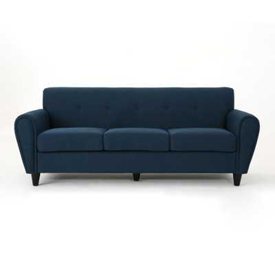 Noble House 3-Seat Navy Blue Fabric Sofa - Home Depot