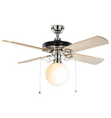 Heron Ceiling Fan With Opal Globe Shade - Rejuvenation