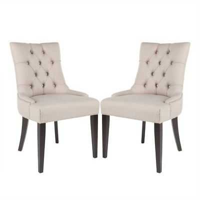 Safavieh Peyton/Ashley Tufted Dining Chair in Taupe (Set of 2) - eBay
