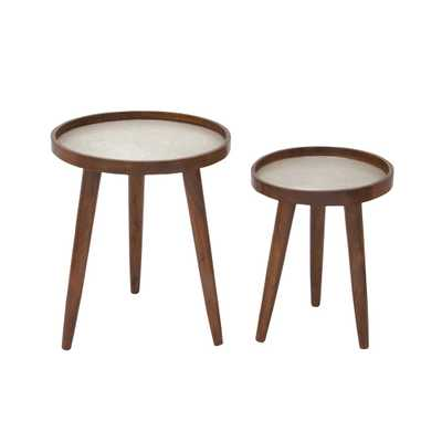 Mahogany Brown Tri-Legged Round Side Tables (Set of 2) - Home Depot