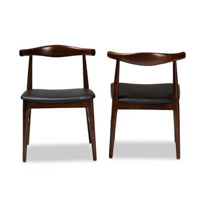 Baxton Studio Eira Black and Walnut Faux Leather Dining Chair (Set of 2) - Home Depot