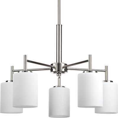 Progress Lighting Replay 5-Light Polished Nickel Chandelier with Etched White Glass - Home Depot