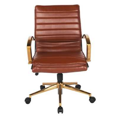 Office Star Products Mid-Back Faux Leather Chair with Gold Finish Base in Saddle Faux Leather - Home Depot