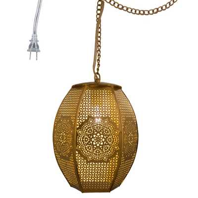 River of Goods 1-Light Gold Pierced Metal Moroccan Sundial Plug-In Pendant - Home Depot