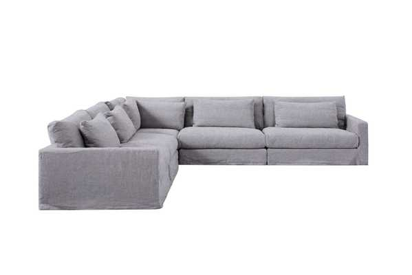 Devyn Corner Sectional Wool Pebble Grey - Sixpenny