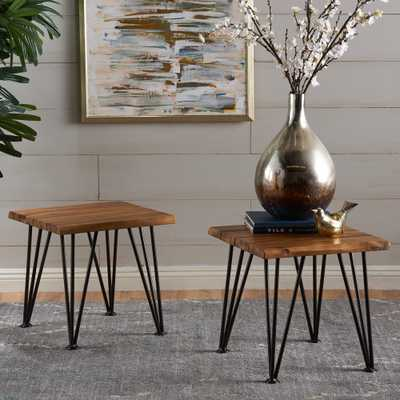 Noble House Carrizo Rustic Wood Outdoor Side Table (Set of 2) - Home Depot