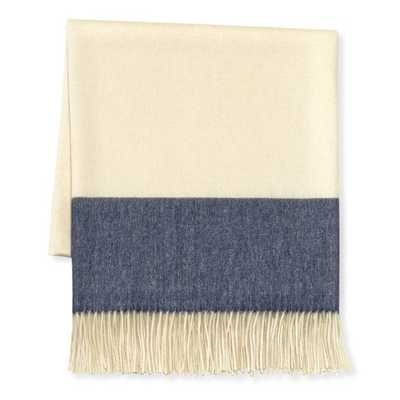 "Two Tone Banded Wool Throw, 50"" X 65"", Blue/Navy - Williams Sonoma Home"