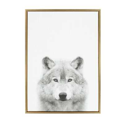 """Kate & Laurel 33""""x23"""" Sylvie Wolf Animal Print And Portrait By Simon Te Tai Framed Wall Canvas Gold - Target"""