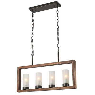 LNC 4-Light Bronze Wood Chandelier with Frosted Glass Shade - Home Depot