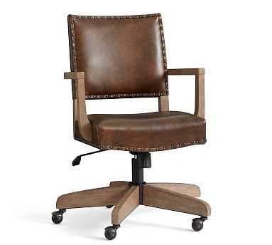 Manchester Leather Swivel Desk Chair, Gray Wash Frame, Nubuck Fawn - Pottery Barn
