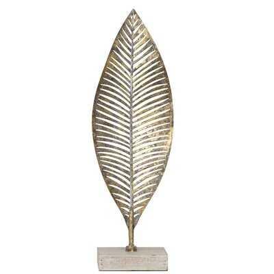 Jackson Heights Metal Leaf on Wood Base Sculpture-Small - Wayfair