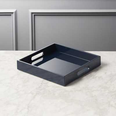 Hi-Gloss Small Square Navy Blue Tray - CB2