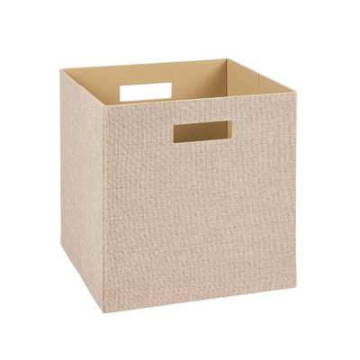 13 in. H x 13 in. W x 13 in. D Decorative Fabric Storage Bin in Tan - Home Depot