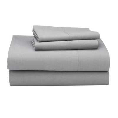 Classic 4-Piece Mineral Gray 210 Thread Count Percale King Sheet Set - Home Depot