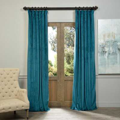Exclusive Fabrics & Furnishings Blackout Signature Everglade Teal Blue Blackout Velvet Curtain - 50 in. W x 108 in. L (1 Panel) - Home Depot
