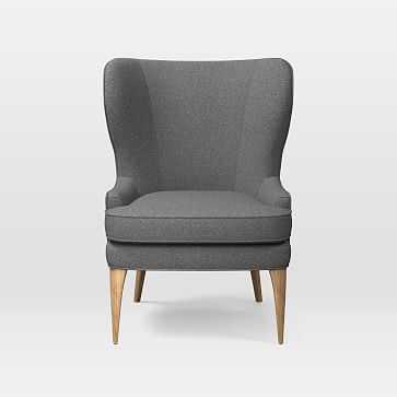 Owen Wing Chair, Tweed, Salt And Pepper - West Elm