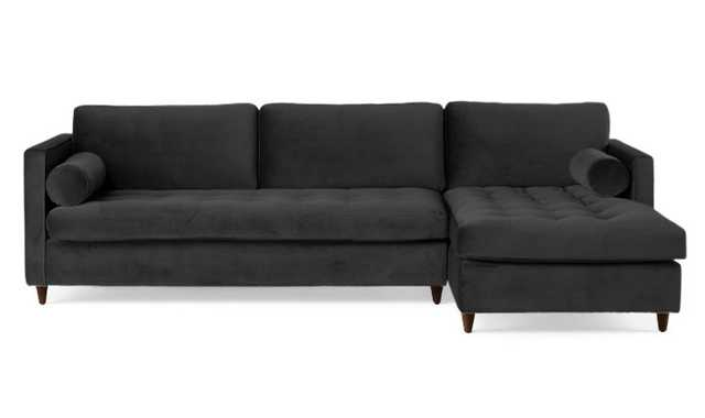 Black Briar Mid Century Modern Sleeper Sectional - Chance Charcoal - Mocha - Right - Joybird