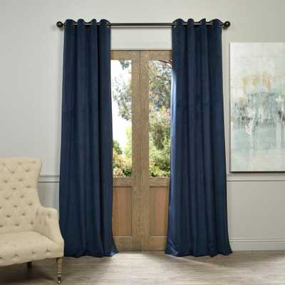 Exclusive Fabrics & Furnishings Blackout Signature Midnight Blue Grommet Blackout Velvet Curtain - 50 in. W x 120 in. L (1 Panel) - Home Depot